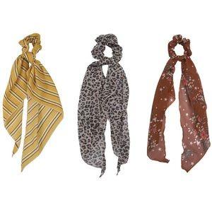 3 Pcs Scarf Scrunchies Women Hair Ties